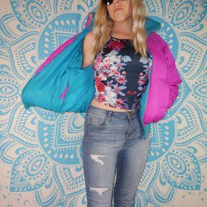 Vintage Columbia Puffer Fully Reversible Pink Blue